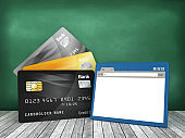 Credit Cards with Web Browser on Chalkboard - 3D Rendering