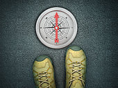 Feet on Asphalt Road with Compass - 3D Rendering