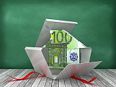 Gift Box with Euro Puzzle House on Chalkboard Background - 3D Rendering