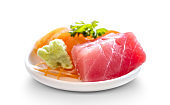 fresh sashimi raw salmon and tuna fish meat traditional delicious japanese food