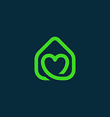Green Real Estate Icon with Heart
