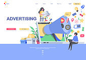 Modern flat web page design template concept of Advertising and Promotion