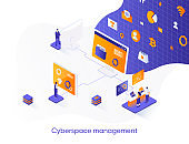 Cyberspace management isometric web banner. Network management software solution isometry concept. Operate and control cyber system 3d scene, flat design