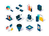 Big data isometric icons set. Data collection, storage in cloud database and analysis. Computer technology and scientific methods and algorithms.