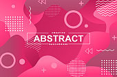 Abstract design with liquid gradient shapes. Pink fluid background for landing page, web banner, graphic presentation. Minimal style composition, trendy wavy pattern with header