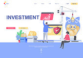 Modern flat web page design template concept of Business Investment