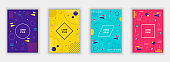 Set of modern style covers. Colorful geometric background