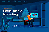 Social marketing isometric landing page. Marketing team brainstorming with infographics in office situation.