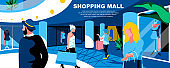 Shopping mall flat vector landing page template.