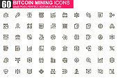 Bitcoin mining thin line icon set.