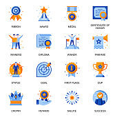 Business success icons set in flat style. Award ceremony, fanfare and salute, medal and cup, certificate of honor, first place and winning signs.