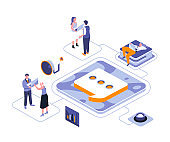 Public relations isometric landing page vector template