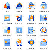Credit and loan icons set in flat style. Home loan, mortgage graph, credit card and deposit, consumer credit, sign contract and calculate rate signs.