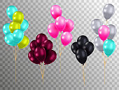 Realistic color air balloons mockups set. Bunches of colorful helium balloons with rope on checked background