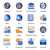 Stock trading icons set in flat style. Bear and bull market, currency exchange, stock trading bot, increase and decrease, money flow, watch list signs.