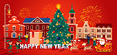 Merry Christmas flat style greeting card. Xmas poster with decorated pine tree, Santa Claus and celebrating people. 2021 Happy New Year vector illustration