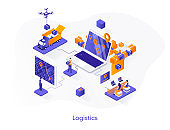 Logistics isometric web banner. Express delivery, logistics company isometry concept. Freight shipping 3d scene, warehousing and distribution flat design
