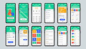Online shopping unique design kit for mobile app. Shopping platform screens with products and payment information.