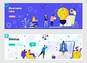 Startup launching landing page with people characters. Business idea generation and development web banners set