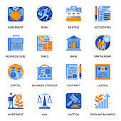 Business development icons set in flat style. Taxes and charges, agreement and contract, strategy planning and accounting, capital investment signs.