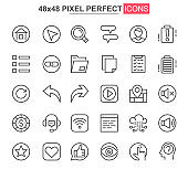 User interface thin line icon set. Organization and management outline pictograms for website and mobile application. User menu simple UI, UX vector icons. 48x48 pixel perfect