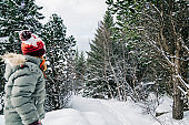 Young girl hiking on a calm snowy day in nature