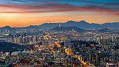 Seoul cityscape at twilight in South Korea.