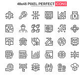 Bitcoin mining thin line icon set. Cryptocurrency fintech outline pictograms for web and mobile app GUI. Blockchain technology simple UI, UX vector icons. 48x48 pixel perfect