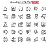 Support service thin line icon set. Customer support, hotline consultation outline pictograms for web and mobile app. Call center simple UI, UX vector icons. 48x48 pixel perfect