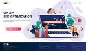 SEO optimization flat landing page template.