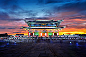 Gyeongbokgung palace at twilight in Seoul, South Korea.