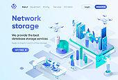 Network storage isometric landing page.