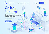 Online education isometric landing page.