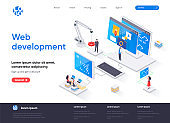 Web development isometric landing page. Full stack development, software engineering, design and programming isometry web page