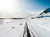 Road covered in snow in the country