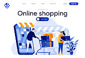 Modern flat web page design template concept of Online Shopping