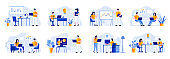 Business meeting scenes bundle with people characters. Manager making presentation, teamwork of colleagues in company situations.