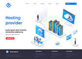 Hosting provider isometric landing page. Website hosting service isometry concept