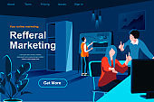 Referral marketing flat isometric landing page. Marketers discussing project near computer website template.
