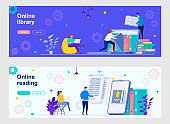 Online library landing page with people characters. E-library mobile application, online education and knowledges web banners set