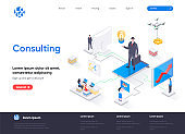 Consulting isometric landing page. Competent business expertise and law assistance, financial audit and accounting isometry web page