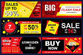 Set of sale banners for online shopping. Vector illustrations for website and mobile website social media banners, posters