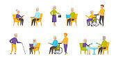 Pensioners flat vector illustrations set. Care, communication scenes bundle.