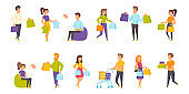 Shoppers flat vector illustrations set. Making purchases, shopping scenes bundle.