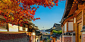 Autumn seasons at Bukchon Hanok Village. Traditional Korean style architecture in Seoul,Korea.
