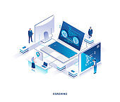 Business coaching isometric landing page. Concept of career development seminar, training or educational course with tiny people working on computers around giant laptop.