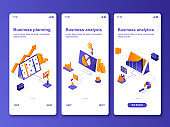 Business analytics isometric GUI design kit. Business planning, financial analysis templates for mobile app. Market research UI UX onboarding screens