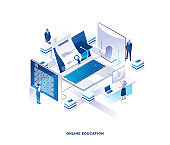 Online education isometric landing page. Concept of obtaining university or college degree via internet with tiny people around giant laptop with graduation cap and certificate.