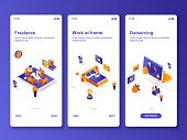 Work at home isometric GUI design kit. Freelance occupation, outsourcing company templates for mobile app. Remote workforce UI UX onboarding screens