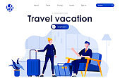 Travel and vacation flat landing page design. Young couple packing suitcases and preparing for trip scene with header.
